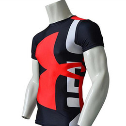 Wholesale Tights Long Sleeve Tees - Wholesale- high quality Men's Marvel Armour T-shirt Superhero Compression T Shirt male Fitness Tights Under Tops & Tees