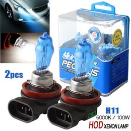 Wholesale Car Xenon Auto Lamp - 2x H11 100W White Light Super Bright Car HOD Xenon Halogen Lamp Auto Front Headlight Fog Bulb CLT_50G