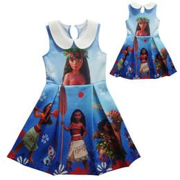 Wholesale Cartoon Children Vest - Girl Moana Princess dress 2017 New Children high quality cartoon moana Printed sleeveless vest dresses clothes 2-10 years C001