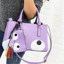 Wholesale Tassel Fashion Big Handbag - 2017 new fashion Hot sale big eyes pattern handbags tassels cute cartoon single shoulder bag tote bag crossbody bag