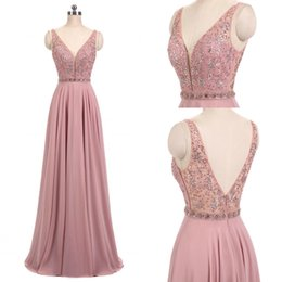 Wholesale Chiffon Evening Gowns Crystals - New 2018 Real Blush Pink Dresses V Neck Sleeveless Beads A Line Long Chiffon Formal Prom Dresses Evening Party Gown Mother Dresses