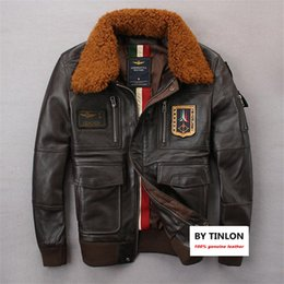 Wholesale Men Leader Jacket - 2017 real leather air force flight suits male genuine leather The leader flight jackets Australian wool collar