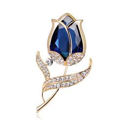 Spilla per occhiali online-Moda Donna Europa America Lega Occhiali strass Rose Spille Pin Sposa Fiore Corpetto Ornamenti gioielli Accessorio sciarpa