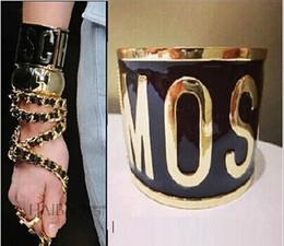 Wholesale Summer Sets For Women - Luxury Summer Style Fashion Gold Plated Metal Letter Black Enamel Paint Bangels From India Shining Celebrity Punk Bracelets For Women