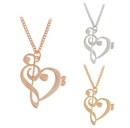 Wholesale Gold Music Note Necklace - New Fashion Loving Heart Music Note Necklace Hot Gold Silver rose Gold Plated Necklace Wholesale
