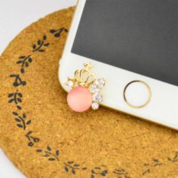 Wholesale Diamond Crown Plug Phone - Luxury Gemstone Crown Desian Front Anti Dust Plug Diamond ustproof Plug For For iPhone 4S,5,5C,5S,6,6S Mobile Phone Accessories