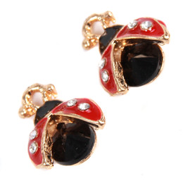 Wholesale Ladybug Charms Wholesale - Wholesale- 20pcs lot DIY Necklace Pendants Black and Red Ladybug Shaped Pendant with Rhinestone Accessories For Jewelry Findings 148147