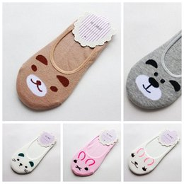 Wholesale Bear Kitty - Wholesale- Fashion Women Invisible Cotton Socks Nonslip Loafer Liner Low Cut Cartoon Animal lady Necessity Kitty Rabbit Bear