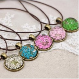 Wholesale Red Flower Nature Wholesale - NEW Handmade Lace Nature Dry Flower Necklaces Pendant Necklace women Jewelry art tree Silver Charm fashion Jewellery Gifts Accessories
