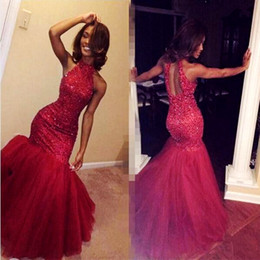 Wholesale Vintage Fiesta Red - 2K17 Burgundy Beaded Mermaid Prom Dresses Long Halter Black Girls Formal Party Dress Sexy Open Back Evening Gowns Vestidos de Fiesta