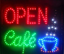 Wholesale Led Open Business Signs - 2017 hot sale Animated LED NEON Motion Flash Open Sign CAFE OPEN For Business 48CM X48CM