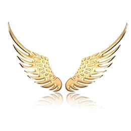Wholesale Car Wing Doors - 3D Angel Wings Emblem Badge Car Stickers high quality Alloy Metal Styling Golden Sliver Factory Direct free shipping 10pcs lot