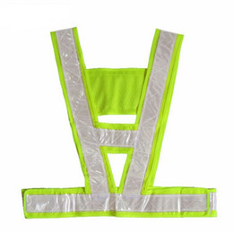 Wholesale Harness Belt Fashion - Reflective Safety Clothing Fashion Neon Lime Yellow Reflective Vest V Clothing High Visibility Safety Belt