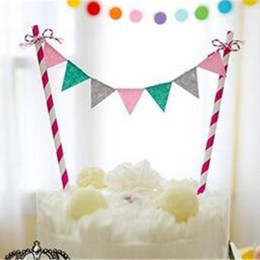 Wholesale Rainbow Birthday Cakes - Wholesale- Rainbow Palette Flag Garland Cake Topper Set Inserted Card Bunting Set For Kids Baby Happy Birthday Party Decoration