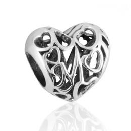 Wholesale Chamilia Pandora Beads 925 Silver - 100% 925 Sterling Silver Mom Heart Openwork Mum Silver Charm Fits Pandora DIY Chamilia Style Beads Bracelets Wholesale Price