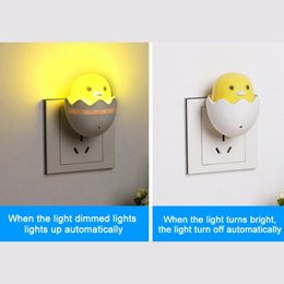 Wholesale small plugging lamp - Wholesale- New Room Novelty Lovely New EU Plug Cute Small Yellow Duck Wall Socket Light-control Sensor LED Night Light Bedroom Lamp