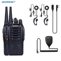 Wholesale Pc Walkie Talkie - Wholesale- 2 PCS Baofeng BF-888S Walkie Talkie 5W Handheld Pofung bf 888s UHF 400-470MHz 16CH Two-way Portable CB Radio +MIC+USB Cable
