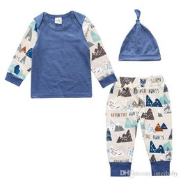 Wholesale Boys Cap Trouser - Christmas Baby Clothes Boys INS Fashion Outfits Long Sleeve T-shirt Trousers Hats Cotton Print Tops Pants Caps Suits Kids Clothing New B3442