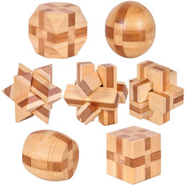 Wholesale Wholesaler Wooden Iq Toys - Wholesale-7pcs lot 3D Eco-friendly bamboo IQ jigsaw brain teaser adults puzzle,educational wooden toys for kids