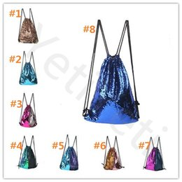 Wholesale Cartoon String Backpacks - Hot Sale Mermaid Sequin Backpack Sequins Drawstring Bags Reversible Paillette Outdoor Backpack Glitter Sports Shoulder Bags Travel Bag