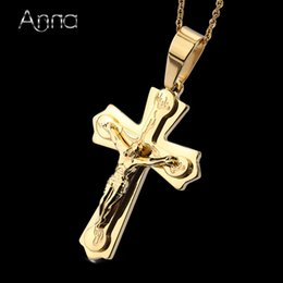 Wholesale Crucifix Necklace Mens - Wholesale-A&N Womens Mens Cross Pendant Necklace With Chain Gold Plated Stainless Steel Antique Cross Crucifix Jesus Pendant Necklace