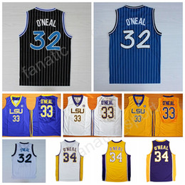 Wholesale Tiger Sleeveless - Men 32 Shaquille O Neal Jersey 34 Throwback LSU Tigers College 33 Shaquille ONeal Basketball Jerseys Stitched Blue Black Yellow White Green