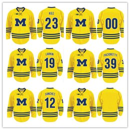 Wholesale Max Name - University of Michigan 23 Alex Kile 39 Max Pacioretty 12 James Sanchez 19 Dylan Larkin Custom any name number & Blank Stitched Hockey Jersey