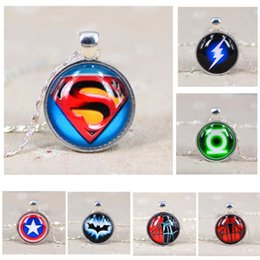 Wholesale Super Jewelry - Super Hero Necklace Sterling Silver Jewelry League Hero Captain America Spider Man Glass Pendant Necklace Silver Plated Statement Necklace