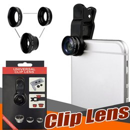 Wholesale Macro Lens For Iphone - 3 in 1 Universal Metal Clip Camera Mobile Phone Lens Fish Eye + Macro + Wide Angle For iPhone X 8 7 Plus Samsung S8 S7 edge With Retail Box