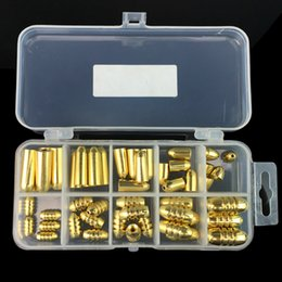 Wholesale Wholesale Lead Sinkers - 50pcs 1box Thread & bullets Copper Pendant Set Fishing sinkers   Lead weights   Plummet Pesca Fishing Tackle Accessories