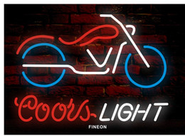 Wholesale Motorcycle Neon Signs - New Motorcycle coors handicrafted real glass tube Neon Light Beer Lager Bar Pub Sign Frame Size 17*13
