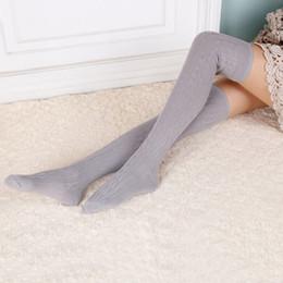 Wholesale Braided Hoses - Wholesale- Women Wool Braid Over Knee Winter Warm Socks Thigh-Highs Hose Stocks