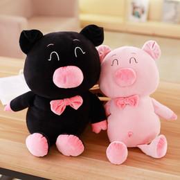 Wholesale Stuffed Black Pig - 2018 35-53Cm Kawaii Plush Pink Black Pig Toy Stuffed Animal Pigs Doll Cushion Baby Kid Children Girlfriend Birthday Gift