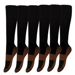 Wholesale Medical Supports - 1 Pairs Copper Knee High Compression Support Socks For Women and Men - Best Medical Nursing Maternity Pregnancy and Travel Socks - 15-20mm