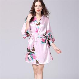 Wholesale Spa Dressing Gown - Wholesale- S-XXL Pink Short Silk Kimono Robe Satin Kimono Robes for Women Silk Dressing Gown Wedding Bridesmaid Spa Bath Robes for Women 00