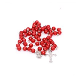 Wholesale Catholic Rosary Beads - Wholesale-free shipping! hot sale 8mm ABS imitation pearl beads catholic rosary prayer necklace,variety of color