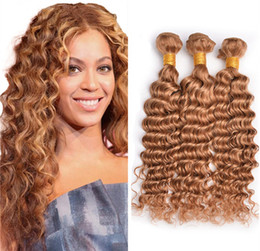 Wholesale Strawberry Blonde Hair Color Extensions - Honey Blonde Indian Deep Wave Virgin Hair 3 Bundles #27 Strawberry Blonde Human Hair Extensions Deep Curly Blonde Hair Weaves
