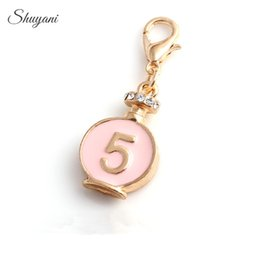 Wholesale Ship Bottle Charm - Fashion Alloy Perfume Bottle Floating Charms with Lobster Clasp Gold Plated DIY Charms Pendant Jewelry Accessories Free Shipping