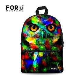 Wholesale Colorful Girl Owl - Wholesale- Fashion 2017 Colorful Women Owl Leopard Backpack 3D Animal Print Girls School Bagpack Female Ladies Tourism Backpack Rucksack