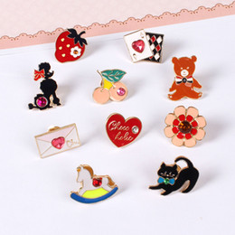 Wholesale Trojan Metal - Wholesale- 2017 Cartoon Cute Envelope Trojan Cat Heart Bear Cherry Metal Brooch Pins button Pin Clothes Jeans Bag Decoration Gift Wholesale