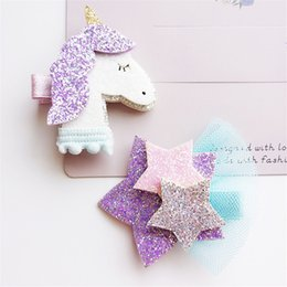 Wholesale Beautiful Unicorn - Dimensional Unicorn Star Girls Hair Clips Kids Hairpins Barrettes Kids Hair Accessories Beautiful HuiLin