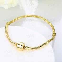 Wholesale 18k Gold Snake Ring - (In Stock)Factory Wholesale 18kg Gold Plated Bracelets 3mm Snake Chain Fit Charm Bead Bangle Bracelet Jewelry Gift For Men Women