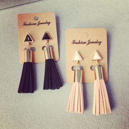 Wholesale Vintage Geometric Fabric - Vintage Geometric Triangle Tassel Drop Earrings Faux Suede Fabric Long Dangle Earrings for Women DHL free shipping