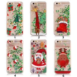 Wholesale apple tree print - 2017 Christmas Tree TPU Case for IPhone 7 6 6S Plus with Dynamic Glitter Stars Santa Claus Printing Transperant Back Cover Apple 5 5S S7 S6