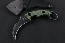 Wholesale Special Gear - Special Offer Strider Claw Karambit knife D2 Stone Washed Blade G10 Handle Fixed blade knife Outdoor gear EDC Survival Tactical knives