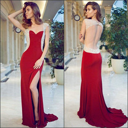Wholesale Gatsby Wedding Dresses - Free Shipping great gatsby 2017 Mermaid Satin Applique Sweetheart Cap Sleeve Open Back Side Split Sweep Train Formal Evening Dresses