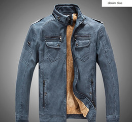 Wholesale Velvet Collar Jacket Wholesale - PU leather garment of autumn and winter men's jacket and velvet washed leather man clothes fashion