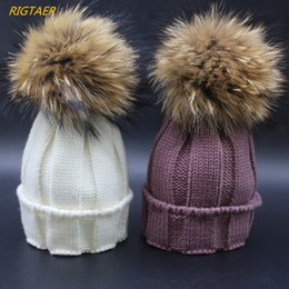 Wholesale Fungi Fungus - Children really raccoon hair ball wool hat 15 cm fungus curling warm baby hat boy and girl Pompom hat beanies for kids caps