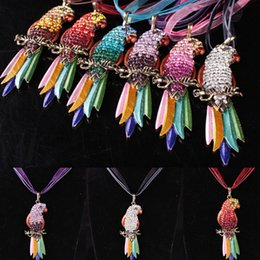Wholesale Parrot Necklace Charms - Colorful Crystal Parrot Necklace Lace Chain Best Friends Pet Bird Pendants for Women Fashion Jewelry Gift 162079