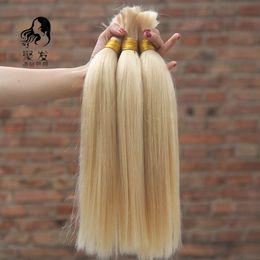 Wholesale Straight Bulk Hair For Braiding - Brazilian Straight Bulk Hair No Weft #613 bleach blonde Brazilian Vrigin Human Hair For Braiding 8''-30'' Free Shipping